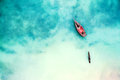 Boat and ship in beautiful turquoise ocean, top view Royalty Free Stock Photo