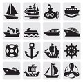 Boat and ship icons set Royalty Free Stock Photos