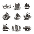 Boat and ship icons set author s illustration in Stock Photography