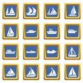 Boat and ship icons set blue