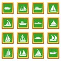 Boat and ship icons set green