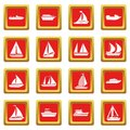 Boat and ship icons set red