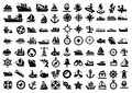 Boat and ship vector balack icons set Stock Image