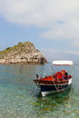 Boat at sicilian coast ioanian sea and near taormina sicily italy Royalty Free Stock Images