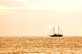 Boat silhouette at sunset Royalty Free Stock Photo