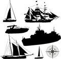 Boat silhouettes set of vector Stock Image