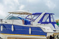 Boat on stand on the shore, close up on the part of the yacht, l Royalty Free Stock Photo