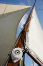 Boat standing and running rigging - mainsail,backstay,ropes Royalty Free Stock Photo