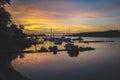 Boat station at dawn. Royalty Free Stock Photo
