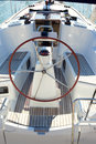 Boat stern with big steering wheel sailboat Royalty Free Stock Photos