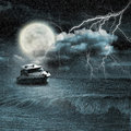 Boat in storm evening on ocean and the moon Royalty Free Stock Photos