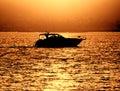 Boat sunset Fotografering för Bildbyråer