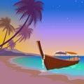 Boat sunset sea vacation. Romantic date wedding travel leisure sandy coast pink sunset sky. Palm beach ocean shore
