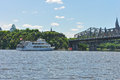 Boat touring on the ottawa river a summer day this is part of boating and tourism gatineau waterways http www cbc Royalty Free Stock Image