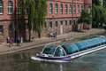 Boat with tourists on  Rhine river at little France quarter in Strasbourg Royalty Free Stock Photo