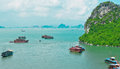 Boat traffic in Halong Bay Royalty Free Stock Photo