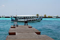 Boat transfer airport island maldives Royalty Free Stock Image