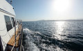 A boat trip on the high seas seascape clear sunny day Stock Photo