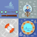 Boat trip, ocean cruise, lifebuoy sailor, vector icons Royalty Free Stock Photo