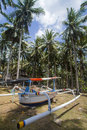 Boat under the palms branches of coconut Stock Image