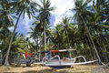 Boat under the palms branches of coconut Stock Photo
