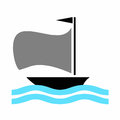 Boat vector with blue sea