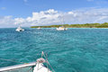Boat view on crystal clear water of caribbean sea Royalty Free Stock Photo