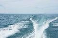 Boat wake on Lake Michigan Royalty Free Stock Photo