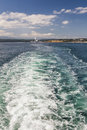 Boat wake left by ferry in puget sound washington Royalty Free Stock Photo
