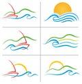 Boat Water Sunset Logo Set Stock Photo