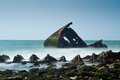 Boat wreck in Normandy near Le Havre Stock Images