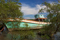 Boat wreck in thailand is a silent reminder of the tsunami Royalty Free Stock Photo