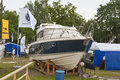 Boat and yacht show visitors visit motor boats on display of ibys international in chervona kalyna club all the latest Royalty Free Stock Photography