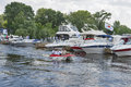 Boat and yacht show visitors visit motor boats moored on display of ibys international in chervona kalyna kiev club all the Royalty Free Stock Image