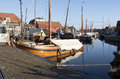 Boat yard for fishing boats in the port of spakenburg in the netherlands Royalty Free Stock Images