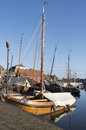 Boat yard for fishing boats in the port of spakenburg in the netherlands Stock Images