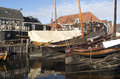 Boat yard for fishing boats in the port of spakenburg in the netherlands Royalty Free Stock Image