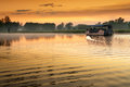 Boat on Yellow Water billabong at dawn, Northern Territories, Australia Royalty Free Stock Photo