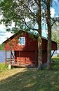 Boathouse falu red at the lule river Royalty Free Stock Images