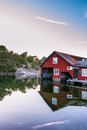 Boathouse on harstena in sweden old historic the evening the touristic island Stock Image