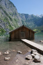 Boathouse at obersee bavaria germany Royalty Free Stock Photo