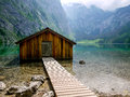 Boathouse at obersee berchtesgaden germany clear lake lake Stock Photos