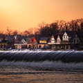 Boathouse row by night philadelphia feb on february in philadelphia is a historic site located on the east bank of Royalty Free Stock Photo