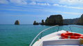 Boating on the algarve near lagos portugal Royalty Free Stock Photos