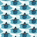 Cute boating buoy cartoon seamless vector pattern. Hand drawn sailing tile. All over print for marine equipment blog