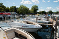 Boating club on lake minnetonka minnesota clubs offer the use of new models of upscale boats without the hassle of owning mooring Stock Photos