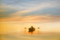 Boating in the dawn lonely man Stock Image