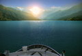 Boating in the Heaven Lake, China Royalty Free Stock Photo