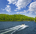 Boating on lake motorboat summer in georgian bay ontario canada Stock Photos