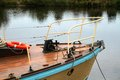 Boating on the trent boats moored at gunthorpe lock in nottinghamshire Stock Photo